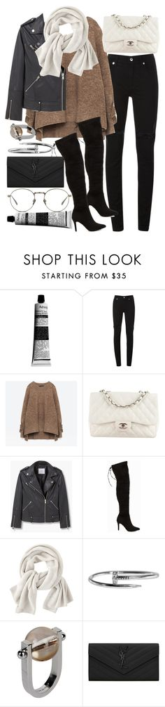 """""""Untitled #20285"""" by florencia95 ❤ liked on Polyvore featuring Aesop, McQ by Alexander McQueen, Chanel, MANGO, Nly Shoes, Wrap, Jil Sander, Yves Saint Laurent and Linda Farrow"""