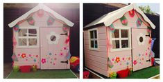 10 awesome playhouses that you just have to see | Pink and white painted wooden playhouse