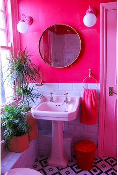 House Tour: Adventures in colour - The Chromologist Pink Houses, Aesthetic Room Decor, Home And Deco, Home Decor Inspiration, House Colors, Bedroom Decor, House Design, Hot Pink Bathrooms, Pink Bathroom Vintage