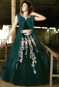 Green Velvet,Net Palazzo Salwar Kameez With Embroidery Work 37205