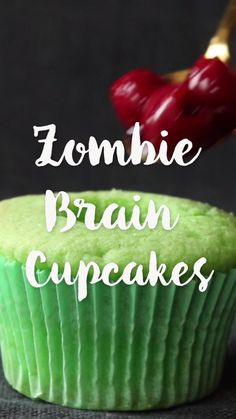 Zombie Brain Cupcakes?! What a perfect Halloween dessert.