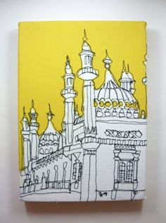 Embroidered canvas of the iconic Brighton Pier - this would look great in our yellow hallway! #wscrafting @whitestuff