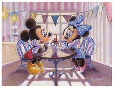 """Mickey and Minnie Disney Art. """"With a Cherry On Top"""" Official Disney Licensed Canvas Giclee signed by me, the artist."""