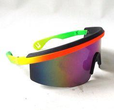 dcd60880f95d vintage 1980 s NOS wrap around sunglasses razor blades orange yellow green  frames sun glasses eyewear oversized men women retro ski sport