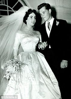 Elizabeth Taylor's wedding dress for her marriage to Conrad  Hilton Jr in 1950, when Taylor was just 18 years old