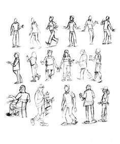 People walking sketches by Will Terrell