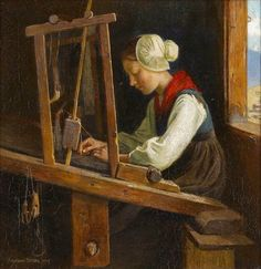 Marianne Stokes (1855 Graz, Styria – August 1927 London): At the Loom