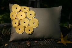 Yellow and Grey poppy pillow