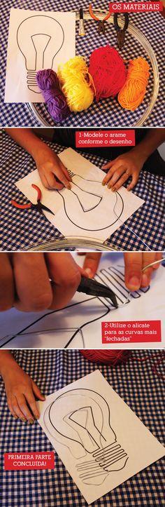Arame, lã e um objeto bacana pra decorar…