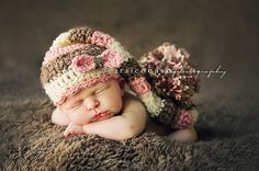 Baby Girl Elf Hat in Pink Brown and Cream by craftnikki on Etsy, $32.00