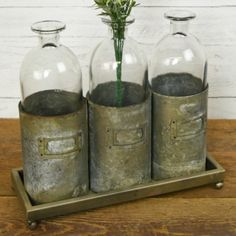 TRIPLE BOX VASE Antique Farmhouse, Farmhouse Decor, Modern Farmhouse, Rustic Shabby Chic, Rustic Charm, Glass Bottles, Glass Vase, Patina Metal, Metal Trays