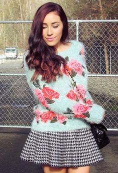 furry sweater + pied de poule skirt