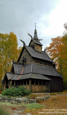 The Washington Island Stavkirke, a church modeled after rural churches of Norway, Door County, WI, USA