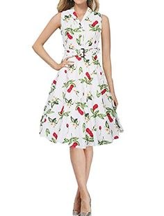 9d514a1a301 Generic Womens V Neck Sleeveless Floral Print Swing Dress White S   You can  get additional details at the image link-affiliate link.