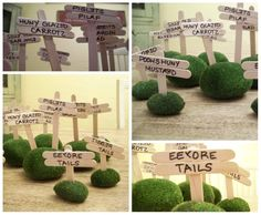 Winnie the Pooh party food signs {use moss at bottom and break the ends of the signs}