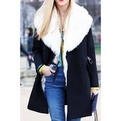 Yoins Yoins White Artificial Fur Lapel Collar Coat ($54) ❤ liked on Polyvore featuring outerwear, coats, navy, trench coats, navy double breasted coat, fur coat, duster trench coat, duster coat ve white trench coat
