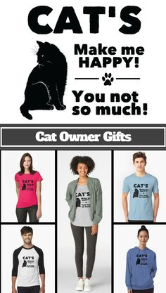 010517ac0 Cat Funny Design - Cats Make Me Happy You Not So Much | Unisex T-Shirt