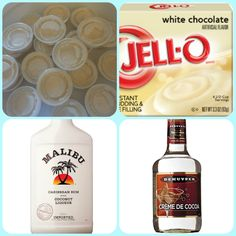 Malibu Coconut Snowflake Pudding Shots 1 small Pkg.white chocolate instant pudding ¾ Cup milk 1/2 Cup Malibu Rum 1/4 Cup white Creme De Cocoa 8oz tub Cool Whip Directions 1. Whisk together the milk, liquor, and instant pudding mix in a bowl until combined. 2. Add cool whip a little at a time with whisk. 3.Spoon the pudding mixture into shot glasses, disposable shot cups or 1 or 2 ounce cups with lids. Place in freezer for at least 2 hours