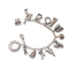 925 Sterling Silver C Z Girls Shoes Theme Assorted Dangling Charm Bracelet 6.5