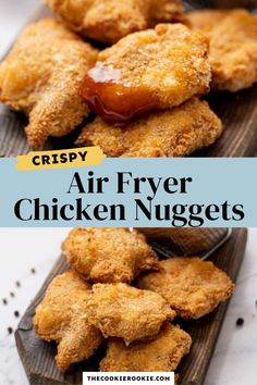 Everyone loves chicken nuggets, and this recipe made in the air fryer is healthier than the deep fried version. Crispy deep fried texture and flavor without the need for all the oil! Simple and easy to make, these nuggets are perfectly tender with the most delicious crispy coating.