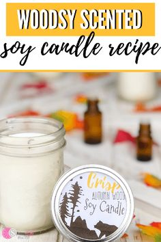 This woodsy scented soy candle is so simple and easy to make. You're only going to need a few ingredients and some essential oils to get started. Fall Candles, Mason Jar Candles, Diy Candles, Scented Candles, Candle Making Jars, Essential Oil Candles, Essential Oils, Homemade Soy Candles, Small Mason Jars