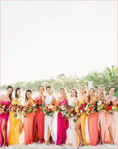Rainbow Bridesmaid Dresses, Bridesmaid Dresses Different Colors, Mismatched Bridesmaid Dresses, Beautiful Bridesmaid Dresses, Beach Wedding Bridesmaids, Hot Pink Bridesmaids, Bunt, Marie, Coral Blush