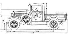Ford Pickup (1932) | SMCars.Net - Car Blueprints Forum Ford Classic Cars, Classic Trucks, Toy Trucks, Pickup Trucks, Pedal Cars, Car Drawings, Car Ford, Vintage Trucks, Ford Models