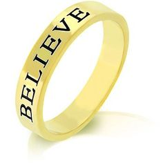 18k Gold Plated Believe Ring with Black Enamel and Goldtone Finish