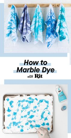 Oh marbling, how we love you. The classic swirling technique is so cool, so fun to do. Learn how easy it is to create incredible marble designs with just some shaving cream and Rit All-Purpose Dye! Learn how to marble dye with Rit. DIY with Rit. How To Tie Dye, How To Dye Fabric, Fabric Crafts, Sewing Crafts, Tie Dye Techniques, Fabric Dyeing Techniques, Diy Tie Dye Shirts, Tie Dye Party, Rit Dye