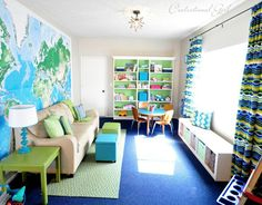 Love this play room / kids bedroom idea - Love the wall map wall paper