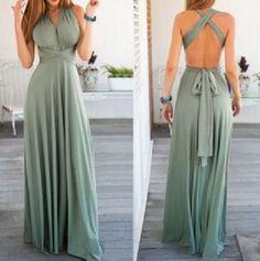 Love this Dress Design! Sexy Sleeveless Self Tie Design Solid Color Convertible Women's Dress #Sexy #Mint #Green #Sleeveless #Maxi #Dress #Bowknot #Open_Back