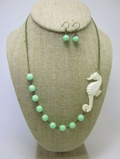 | ♕ |  Seahorse Necklace  Ivory Seahorse with Seafoam