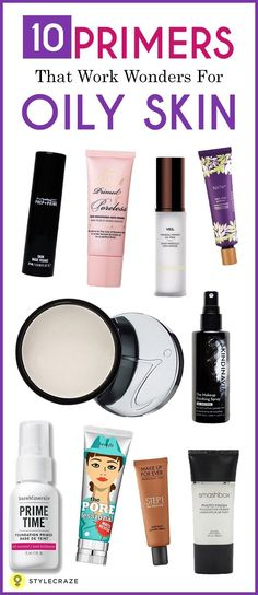 Here is a list of top 10 amazing face primers for oily skin. Try the primer suitable for your skin and get flawless and smoother skin. Oily Skin Makeup, Oily Skin Care, Skin Care Tips, Diy Makeup Primer, Drugstore Primer, Best Primer For Oily Skin, Best Face Primer, Make Up Dupes, Makeup Tips