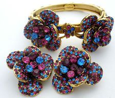 Edidi by Wendy Lau Bracelet Earrings Set Crystal High End Couture Blue Pink Gold