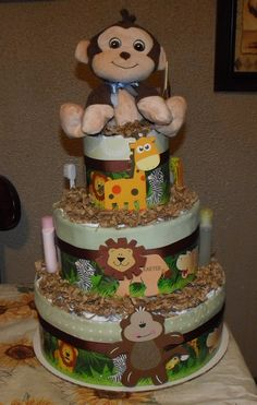 Jungle baby diaper cake  By Tammy Lively