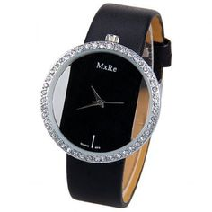 Diamonds Design Hollow Quartz Watch with Analog Indicate Leather Watchband for Women, BLACK in Women's Watches Watches For Men, Women's Watches, Black Watches, Wrist Watches, Watches Online, Cheap Accessories, Leather Watch Bands, Sammy Dress, Modern Jewelry
