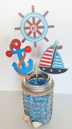 If I can't do diaper center pieces Nautical Baby Shower Table Centerpiece by LilLoveBugsCreations 1st Birthday Centerpieces, Baby Shower Table Centerpieces, Baby Shower Decorations For Boys, Boy Baby Shower Themes, Baby Shower Parties, Baby Boy Shower, Jar Centerpieces, Table Decorations, Shower Party