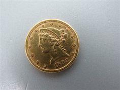 1882 $5 Dollar Liberty Half Eagle US Gold Coin. Available @ hamptonauction.com for February 9th, 2014 Auction!