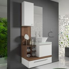 Os conjuntos de gabinete com espelheira são as melhores opções para garantir harmonia, mais praticidade e economia na hora de decorar o banheiro. <3