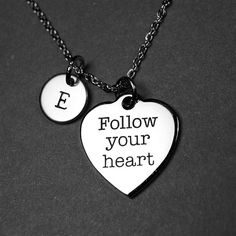 Follow your heart necklace, follow your heart charm, inspirational romantic jewelry, inspiring quote affirmation, love word , personalized by chrysdesignsjewelry on Etsy