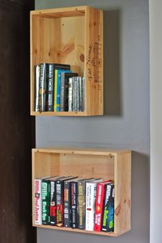 wine crate book shelves