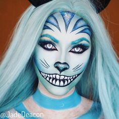 Alice in Wonderland Cheshire Cat. Fantasy Transformations for Halloween with Body Paint. By Jade Deacon. Halloween Series, Last Halloween, Halloween Kostüm, Cheshire Cat Makeup, Cheshire Cat Costume, Cheshire Cat Face Paint, Cat Costume Makeup, Creepy Makeup, Amazing Halloween Makeup