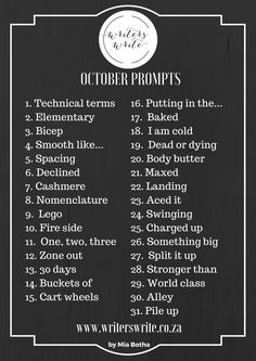 Writing Prompts For October 2017
