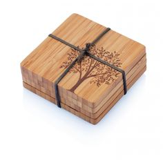 Bamboo Coasters with Tree Motif