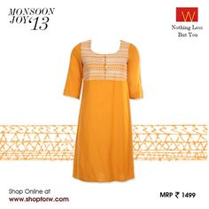 Capture ladylike #elegance with this embroidered sunflower yellow kurta from our monsoon collection. Yeah or Naah?  Make it yours here: www.shopforw.com  #Wfashion #retailtherapy