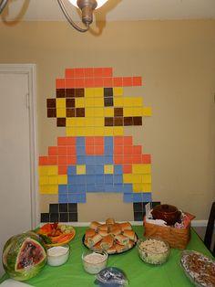 Bio Girl: Henry's Nintendo Land Birthday Party! NintendoLand 8 bit Mario out of post it notes