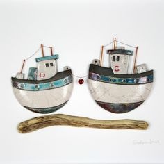 Two adorable little fishing boats, who just want to be together! Supplied in a hand-painted white frame Size H x W 33 cm approx. Clay Crafts, Diy And Crafts, Boat Art, Love Boat, Fabric Animals, Pottery Marks, Driftwood Crafts, Boat Design, Sea Waves