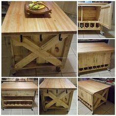 There are many things in the kitchen that need to be stored like the crockery and the kitchen utensils for which there is a need of proper place where the things will not get damaged. The idea of the Kitchen Island made up of repurposed wooden pallet shown contains the hooks on the side which helps in hanging the utensils of daily use.