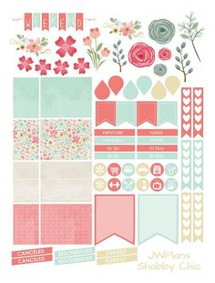 PRINTABLE Erin Condren Planner Shabby Chic by PricklyPearDesignCo: