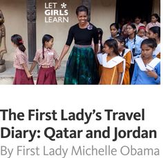 "Posted #November2nd #2015.... The First Lady's Travel Diary: #Qatar and #Jordan By #FirstLady #MichelleObama This post is part of a series authored by First Lady Michelle Obama to share her visit to Qatar and Jordan with middle school and high school students in the U.S. This week, I will be traveling to Qatar and Jordan — countries located in a part of the world known as the ""Middle East"" (if you look on a map, it's just to the east of Africa) — and I want young people like you all across A..."